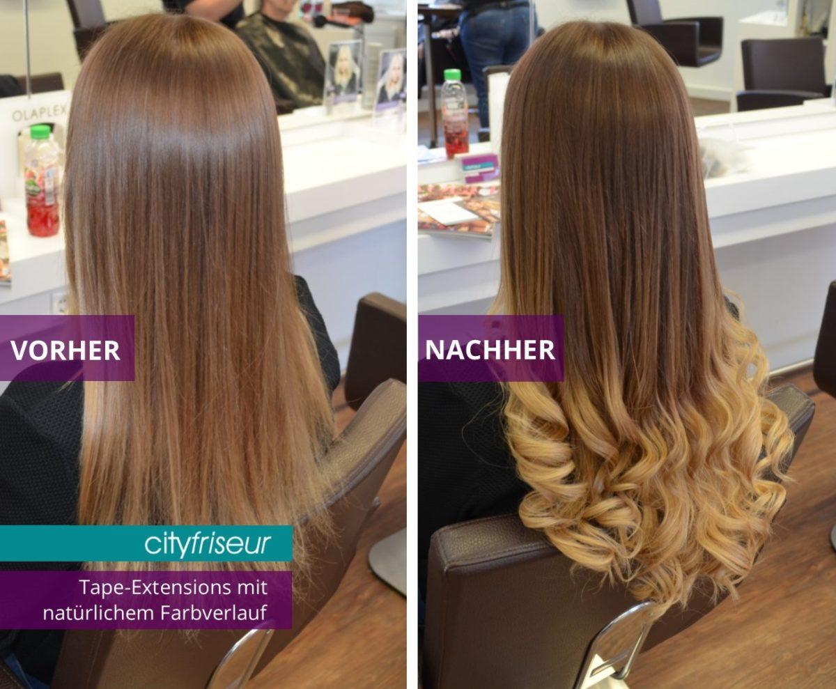 Haarverlängerung mit natürlichem Farbverlauf